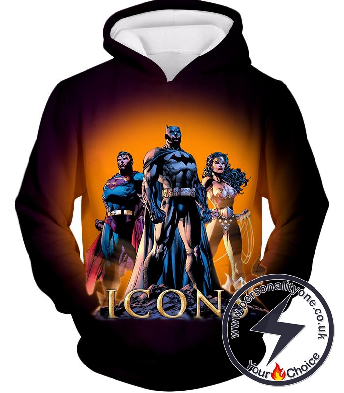 Cool Justice League Iconic Superheroes Awesome Graphic Promo Hoodie