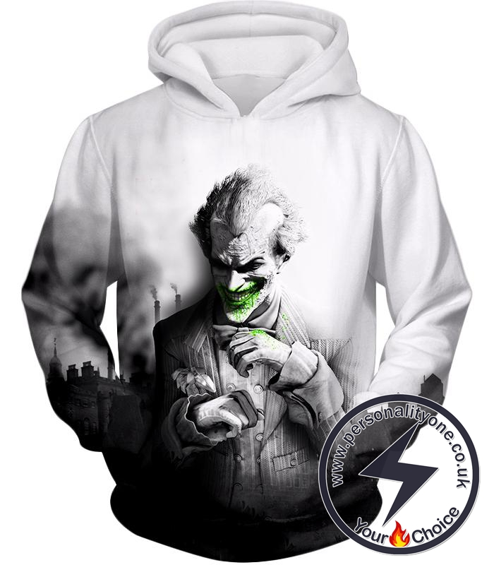 Deadliest Villain The Joker HD Graphic White Hoodie