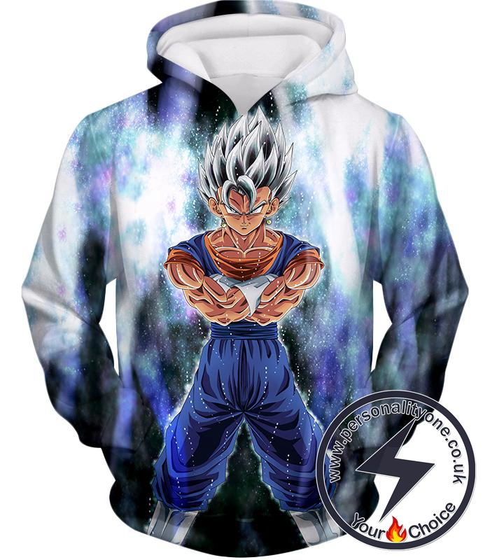 Dragon Ball Super Awesome Fusion Vegito Ultra Instinct Form Cool White Hoodie