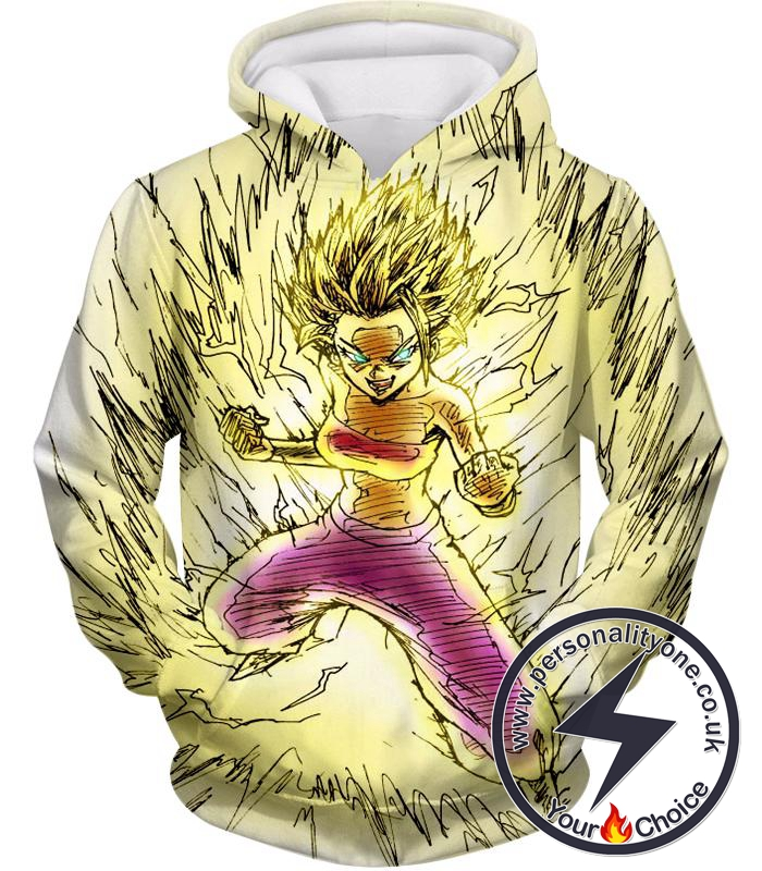 Dragon Ball Super Caulifla the Ultimate Female Super Saiyan Cool Art White Hoodie