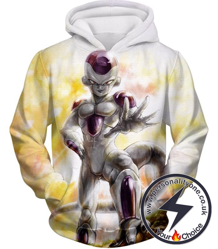 Dragon Ball Super Full Form Frieza Dangerous Villain Awesome Promo White Hoodie