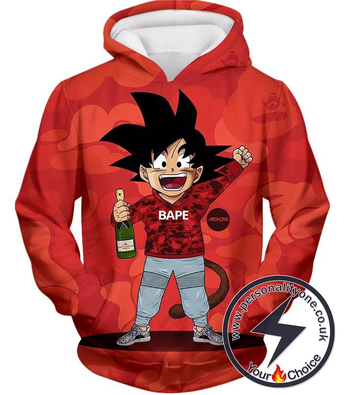 Dragon Ball Super Funny Kid Goku Meme Anime Graphic Red Hoodie