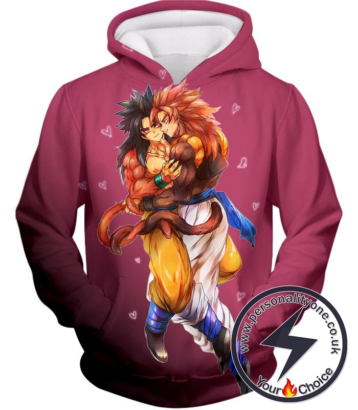 Dragon Ball Super Funny Super Saiyan 4 Art Gogeta x Goku Cute Pink Anime Hoodie