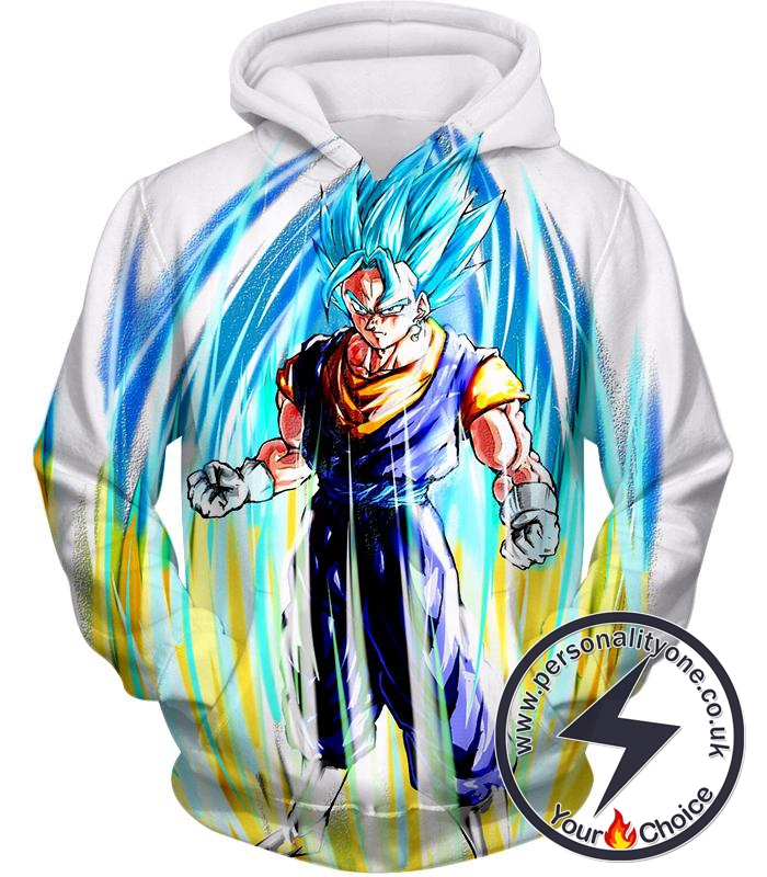 Dragon Ball Super Powerful Fusion Warrior Vegito Super Saiyan Blue Ultimate Action White Hoodie