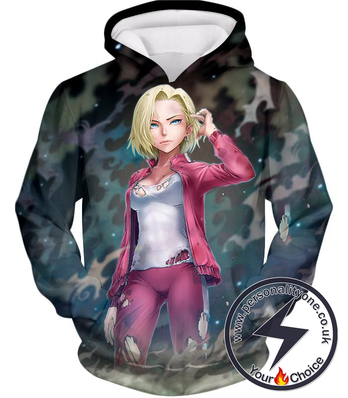 Dragon Ball Super Very Cute Fighter Android 18 Extremely Pretty Anime Graphic Hoodie