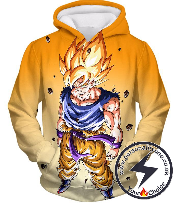 Dragon Ball Super Warrior Goku Super Saiyan 2 Cool Battle Action Orange Hoodie