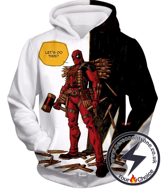 Extremely Comical Marvel Superhero Deadpool White Hoodie