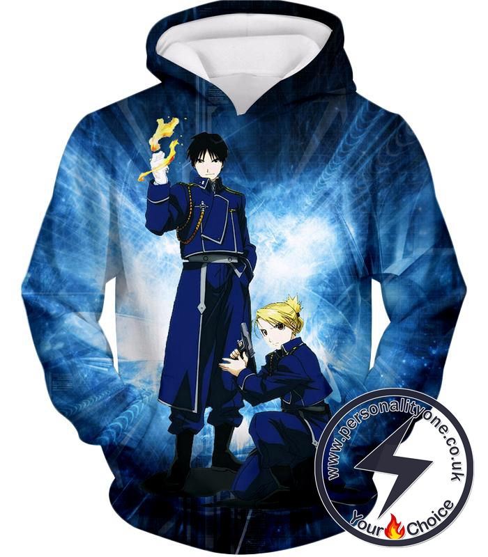 Fullmetal Alchemist Awesome State Military Personnels Roy x Riza Anime Action Pose Hoodie
