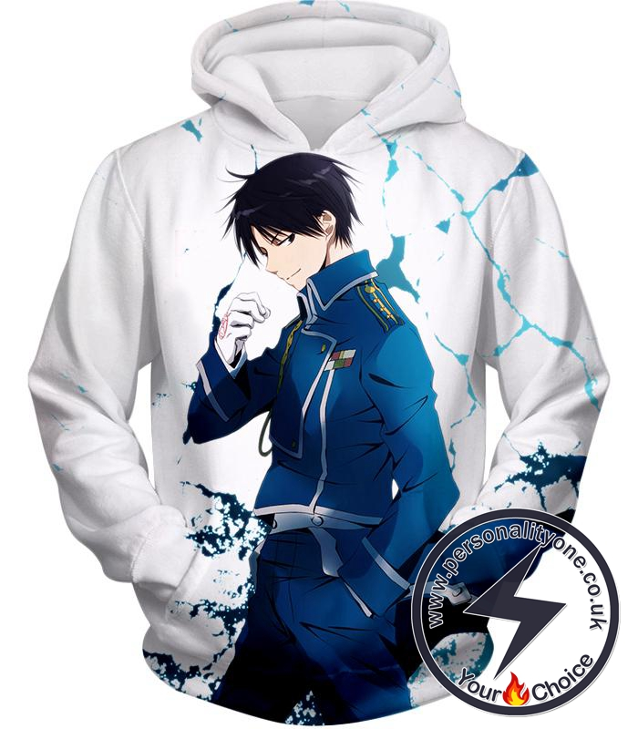 Fullmetal Alchemist Cool Fire Alchemist Roy Mustang Awesome Anime Pose White Hoodie