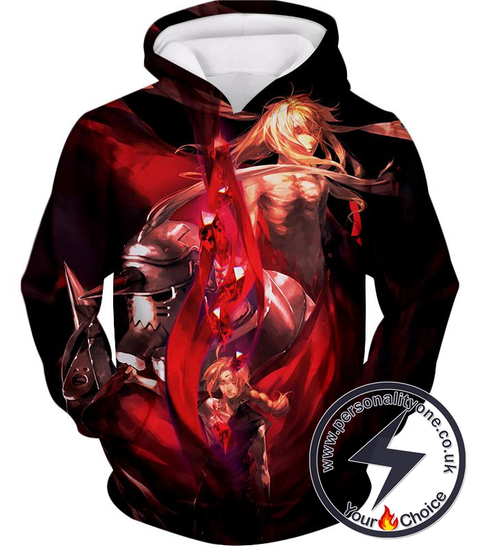 Fullmetal Alchemist Fighting for Life Brothers Edward x Alphonse Elrich Amazing Anime Promo Hoodie