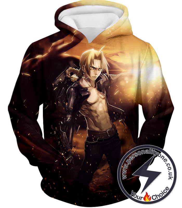 Fullmetal Alchemist Ultimate Anime Hero Edward Elrich Handsome Tall Pose Cool Graphic Hoodie