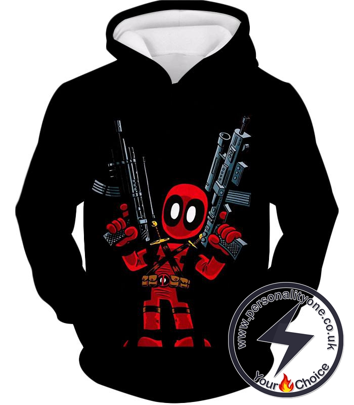 Funny Mercenary Deadpool Comic Action Figure Black Hoodie