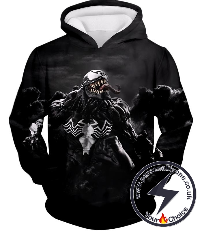 Marvels Dangerous Villain Venom Black Printed Hoodie