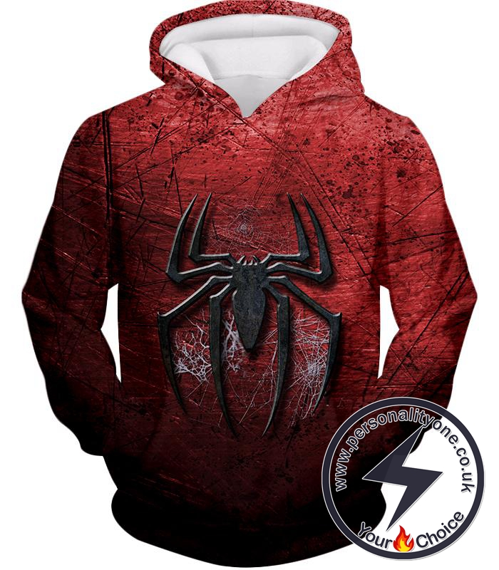 Marvels Ultimate Spiderman Logo Cool Scratched Red Hoodie