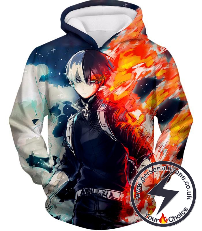My Hero Academia Blazing Hot and Icy Cold Half Cold Half Hot Shoto Cool Action Hoodie