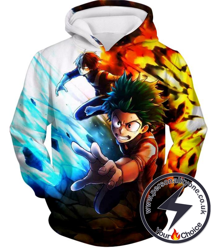 My Hero Academia Izuki Midoriya and Shoto Todoroki Action Hoodie