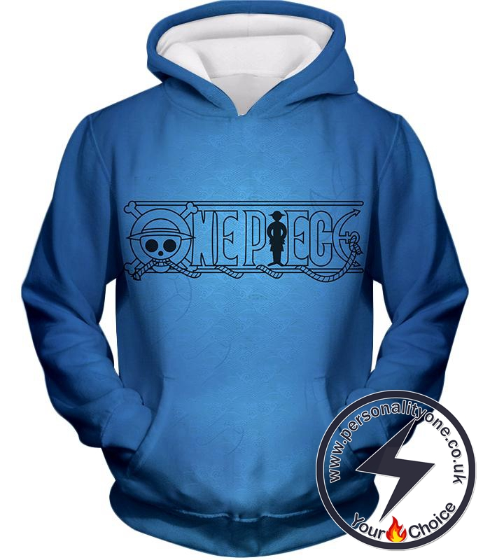 One Piece Awesome Anime One Piece Promo Logo Blue Hoodie