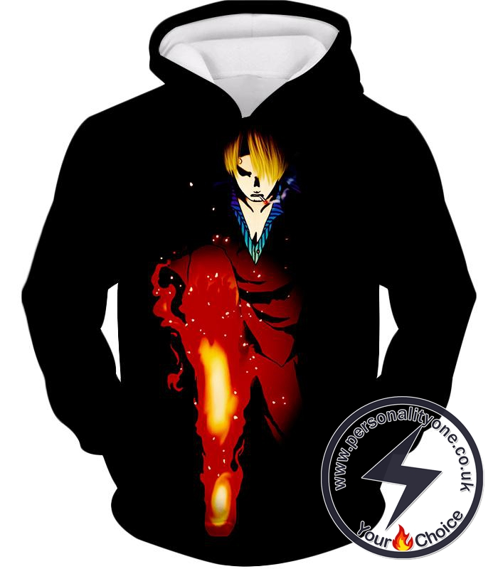 One Piece Black Leg Sanjis Diable Jambe Awesome Action Black Hoodie