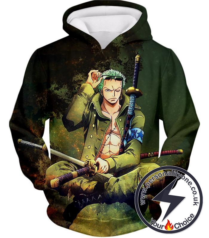 One Piece Cool Straw Hat Pirates First Man Roronoa Zoro Awesome Hoodie