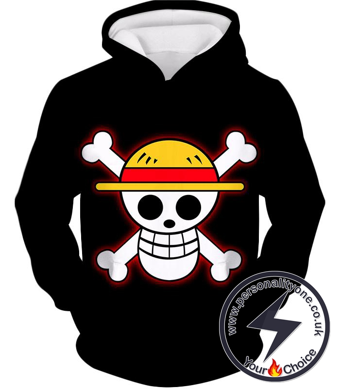 One Piece Pirate Crew Straw Hat Logo Cool Black Hoodie