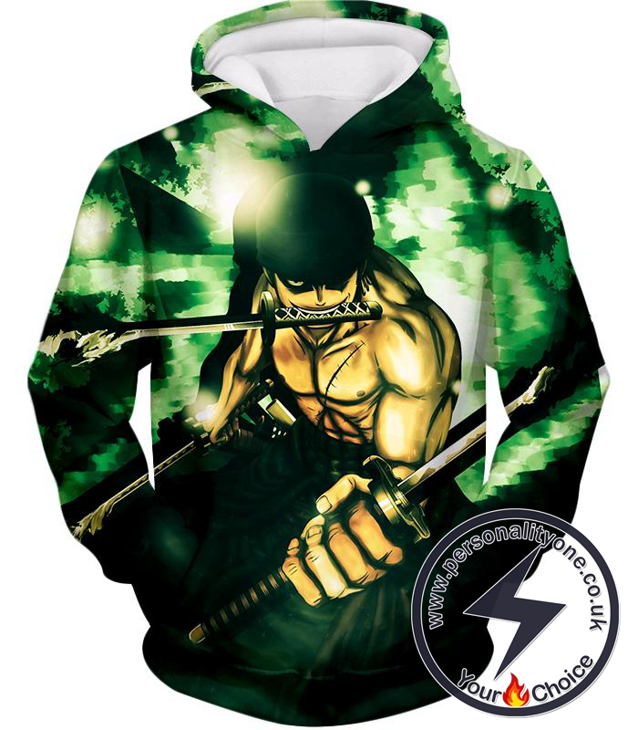 One Piece Powerful Straw Hat Swordsman Demon Roronoa Zoro Awesome Action Hoodie