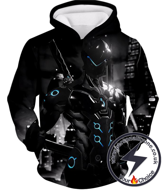 Overwatch Awesome Overwatch Agent Cyborg Genji Black Action Hoodie