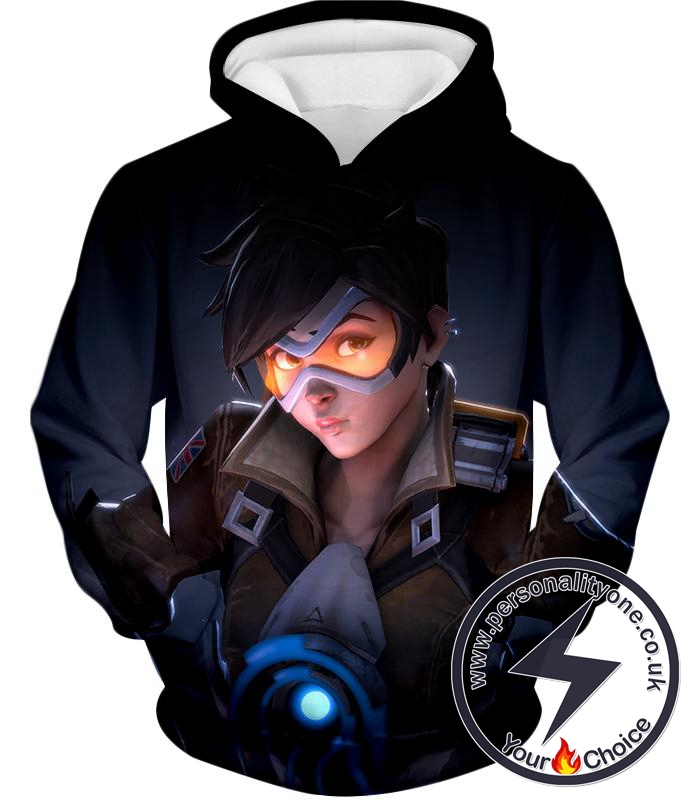 Overwatch Time Traveling Overwatch Agent Tracer Cool Black Hoodie