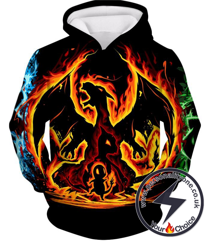Pokemon Amazing Fire Type Charmander Evolution Tree Hoodie