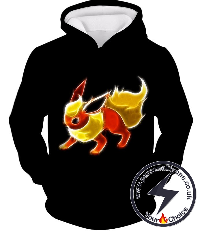 Pokemon Awesome Fire Type Eevee Evolution Flareon Cool Black Hoodie