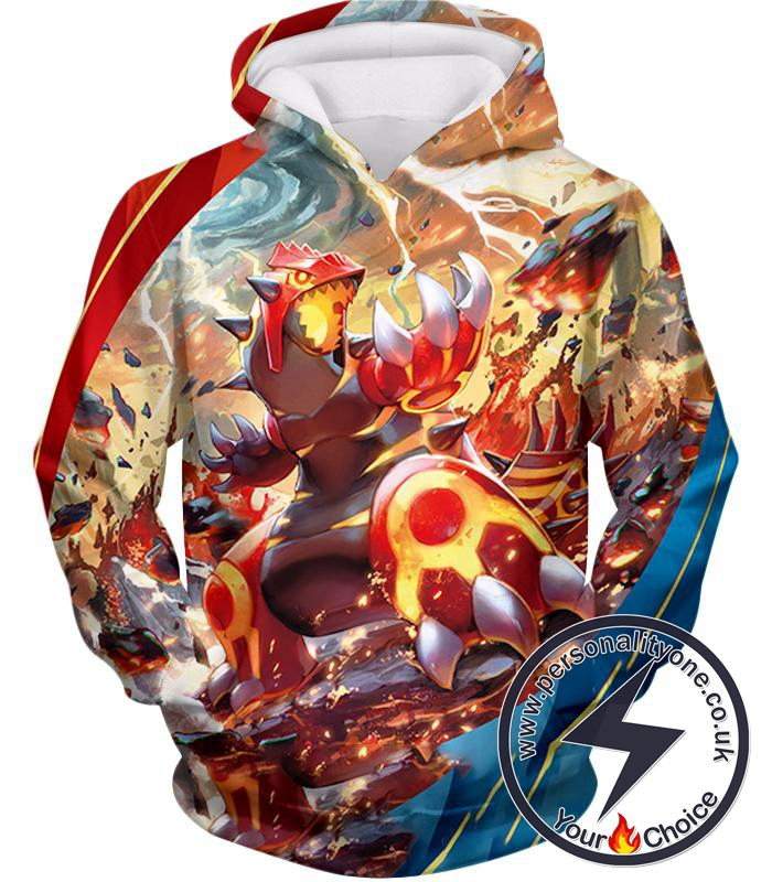 Pokemon Awesome Pokemon Legendary Red Blazing Groudon Action Hoodie