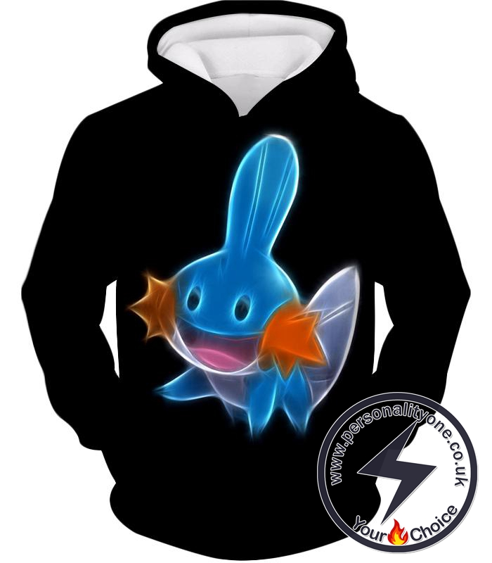 Pokemon Cute Water Type Pokemon Mudkip Cool Black Hoodie