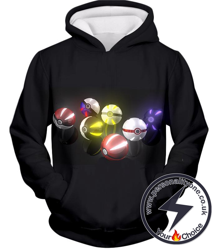 Pokemon Super Cool All Types of Pokeballs Awesome Black Hoodie