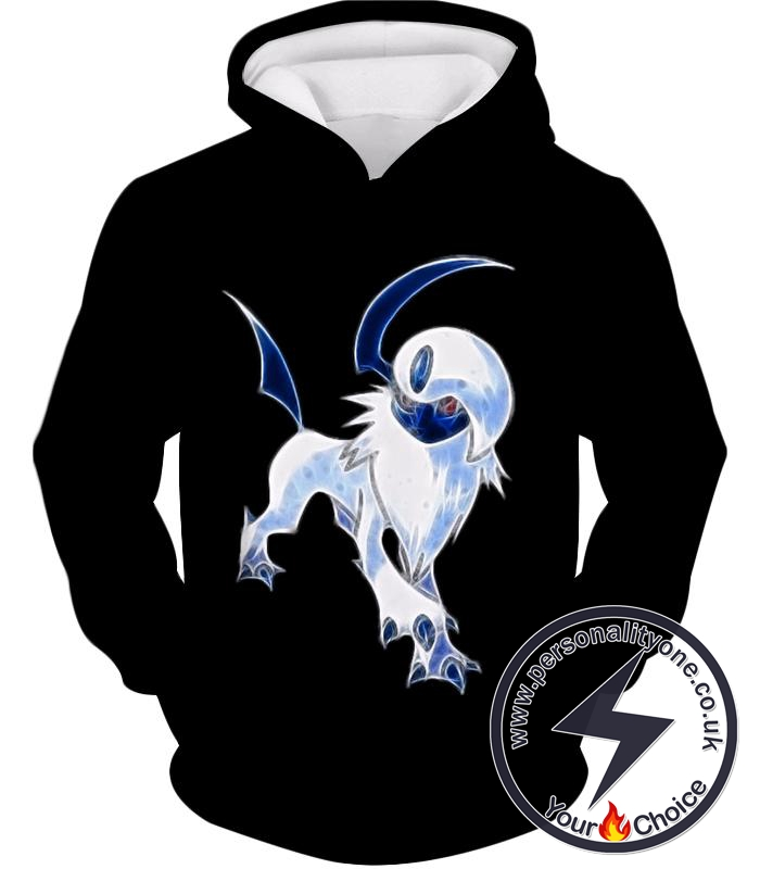 Pokemon Super Cool Disaster Pokemon Absol Awesome Promo Black Hoodie
