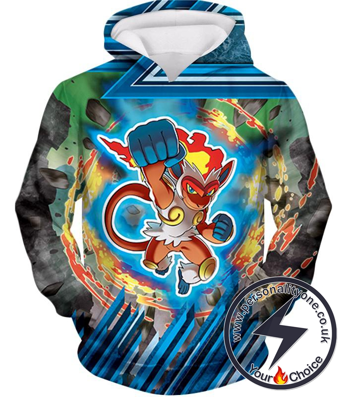 Pokemon Super Cool Flame Pokemon Infernape Amazing Action Hoodie