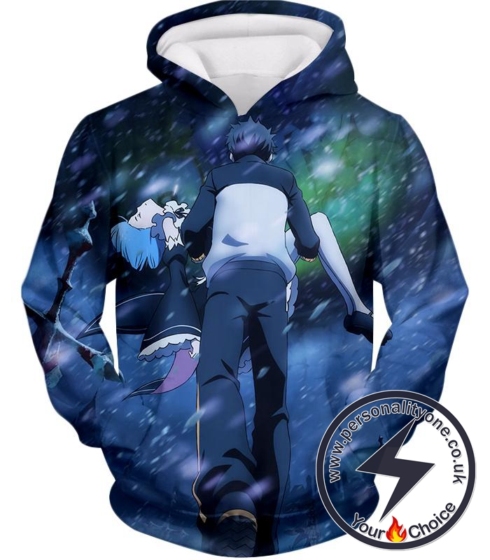 Re:Zero Awesome Re:Zero Subaru and Rem Action Anime Hoodie