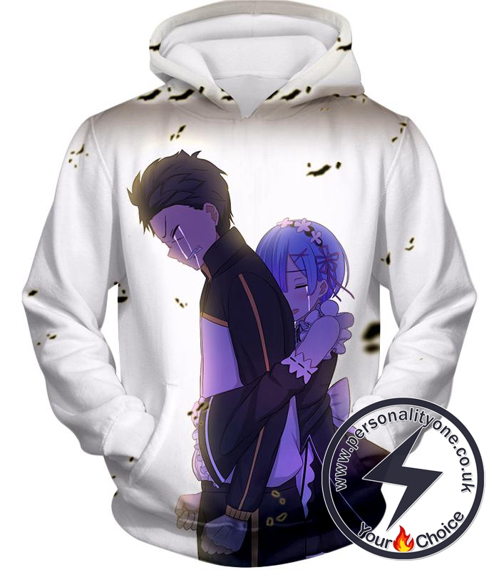 Re:Zero Cute Anime Friends Rem and Subaru Cool White Hoodie