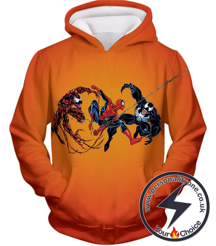 Spiderman x Carnage x Venom Cool Action Orange Hoodie