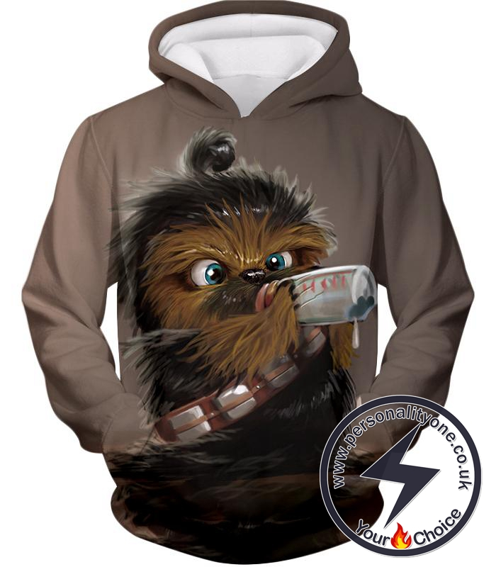 Star Wars Extremely Cute Chewbacca Cool Graphic Grey Hoodie