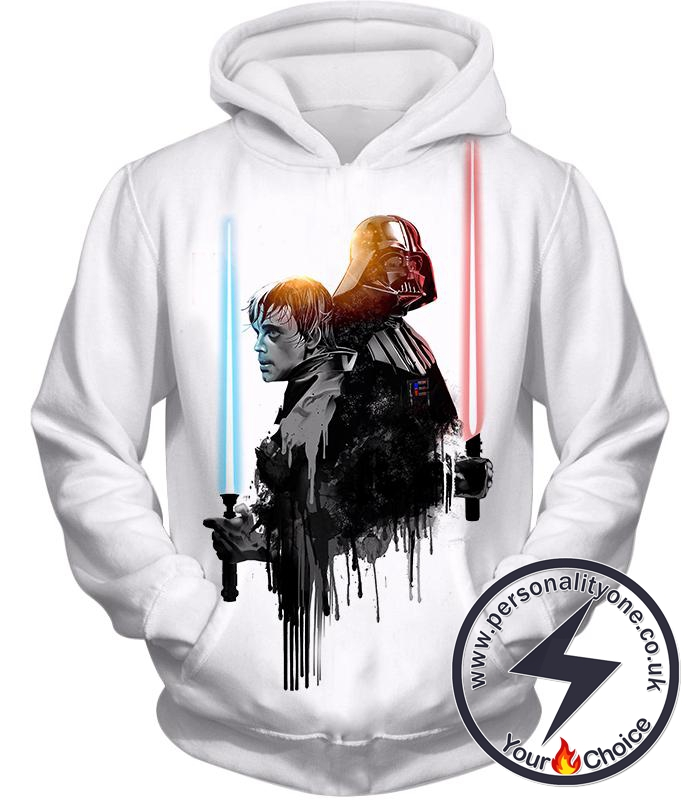 Star Wars Father Vs Son Jedi Vs Sith Luke Vs Anakin Skywalker Cool White Hoodie