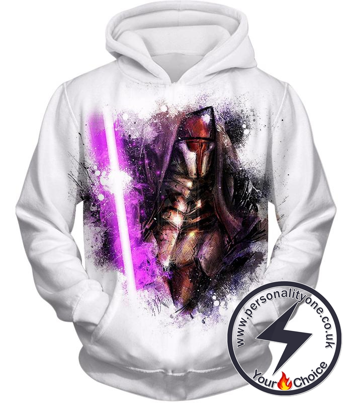 Star Wars Sith Lord Darth Revan Purple Lightsaber Fan Art Cool White Hoodie