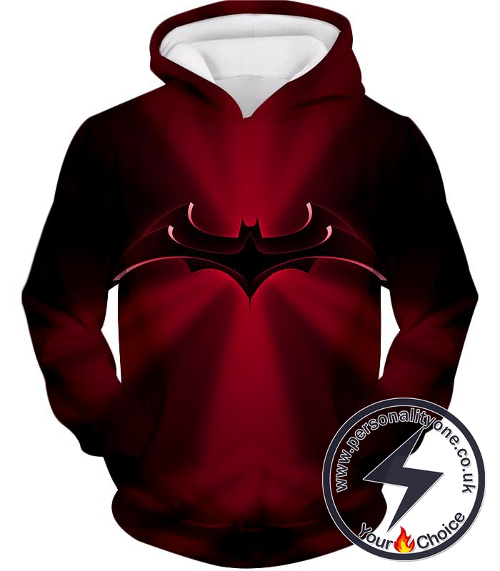 Super Awesome Red Batman Logo Cool Red Shaded Hoodie