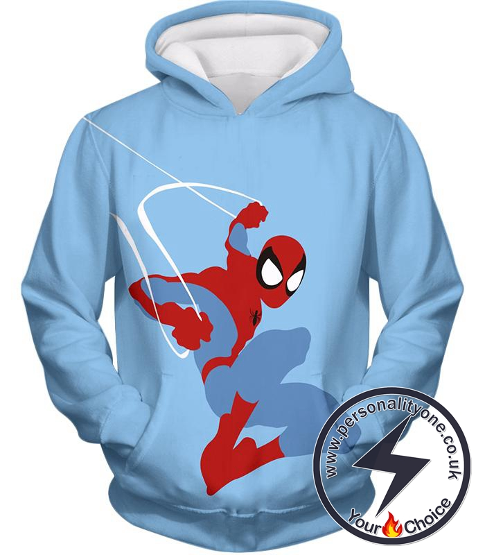 Super Cool Animated Spiderman Web Action Blue Hoodie