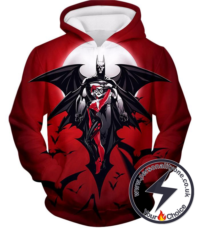 Super Cool Batman x Harlequin Animated Awesome Red Hoodie