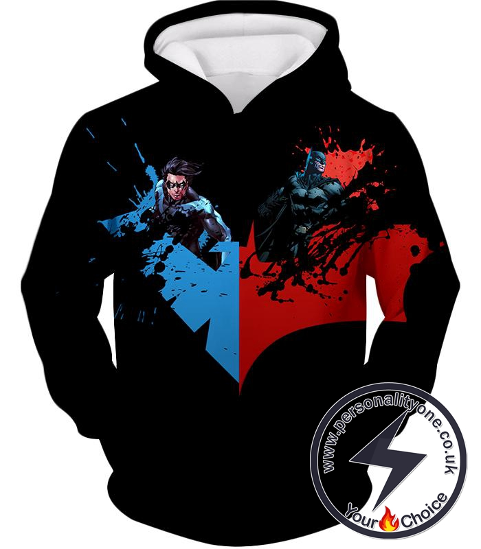 Super Cool Batman x Nightwing Promo Awesome Black Hoodie