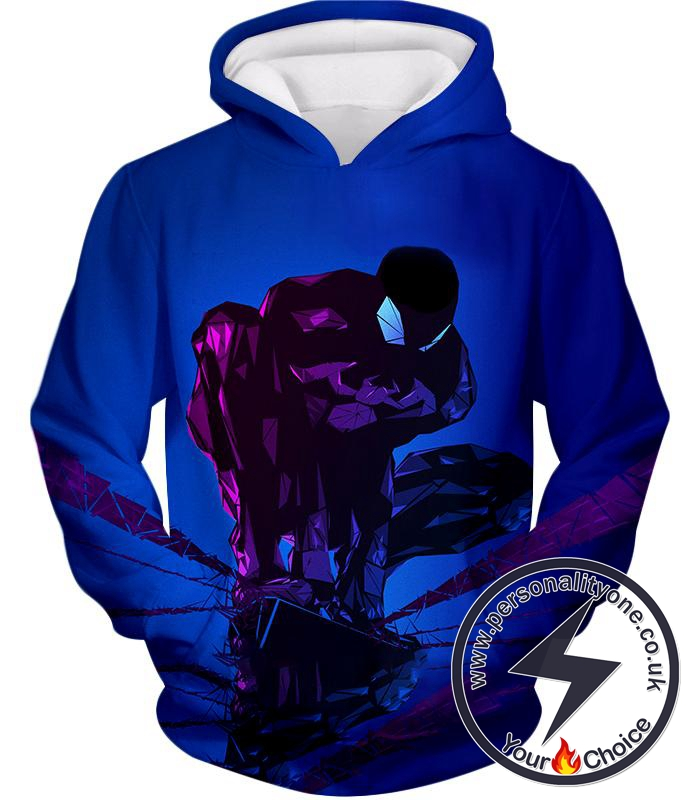 Super Cool Web Hero Spiderman Dark Blue Hoodie