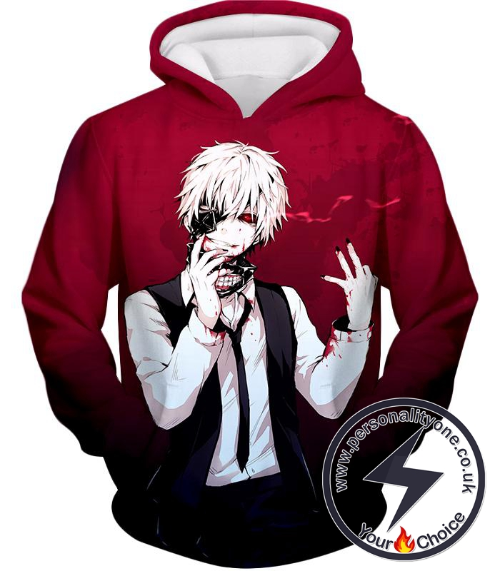 Tokyo Ghoul Super Awesome White Haired Hero Ken Kaneki Cool Red Hoodie