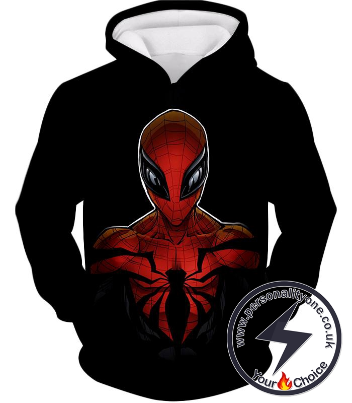 Wall Crawling Superhero Spiderman Animated Black Hoodie