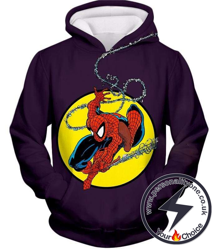 Web Shooting Animated Hero Spiderman Purple Hoodie