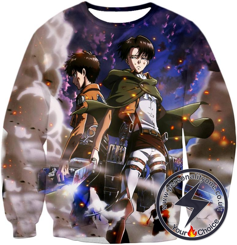 Attack on Titan Awesome Captain Levi and Eren Yeager Sweatshirt