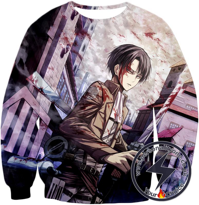 Attack on Titan Covered with Blood Ultimate Hero Levi Ackerman Anime Action Sweatshirt